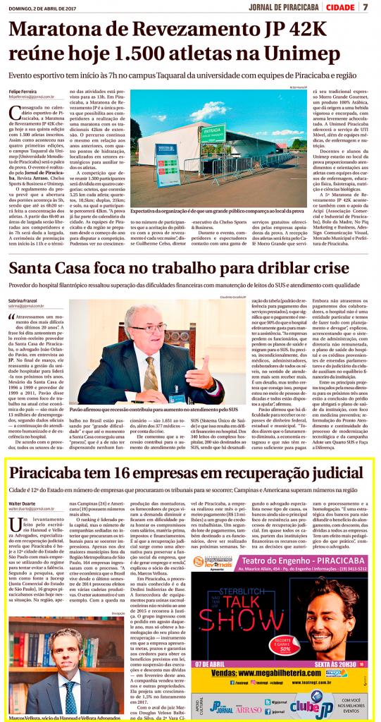 Hannud & Velloza no Jornal de Piracicaba